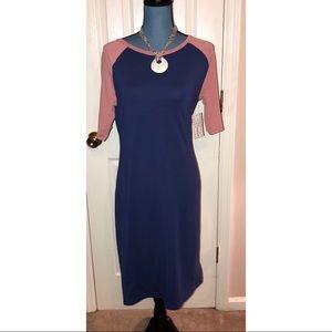 LulaRoe Size Large JULIA Dress Blue/Red sleeves